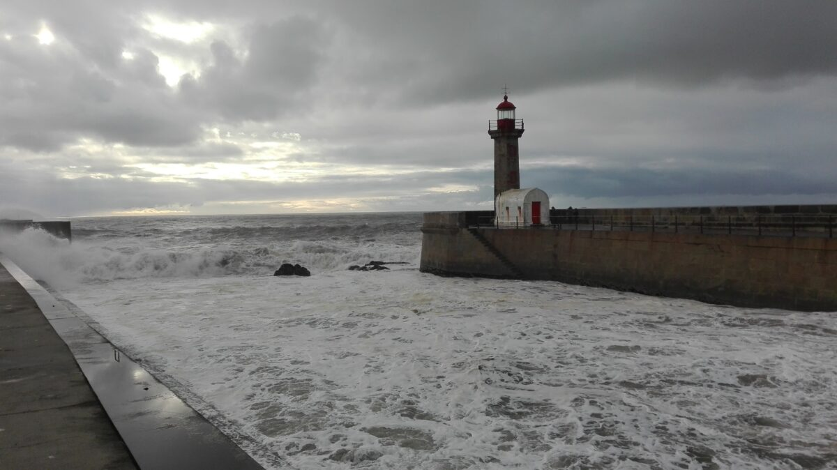 A lighthouse and the sea in Porto