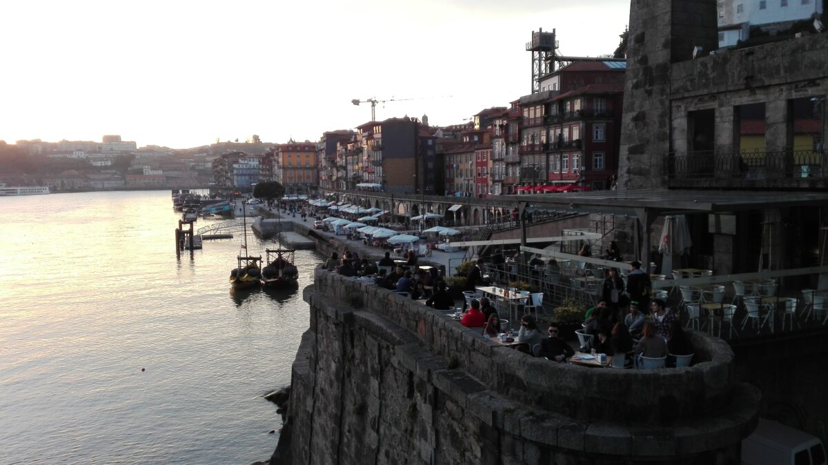 Drinks as the sun sets in Porto, Portugal.