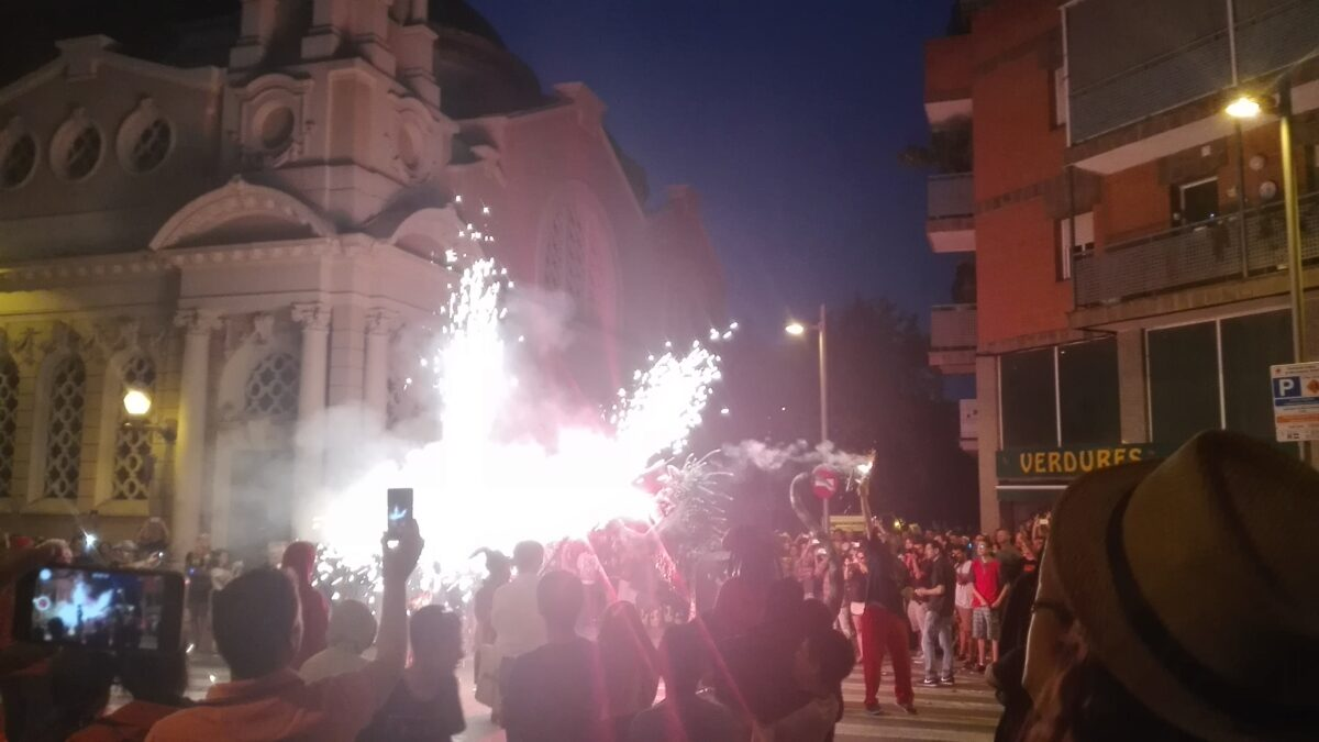Correfoc (fire run) in Barcelona, Spain.