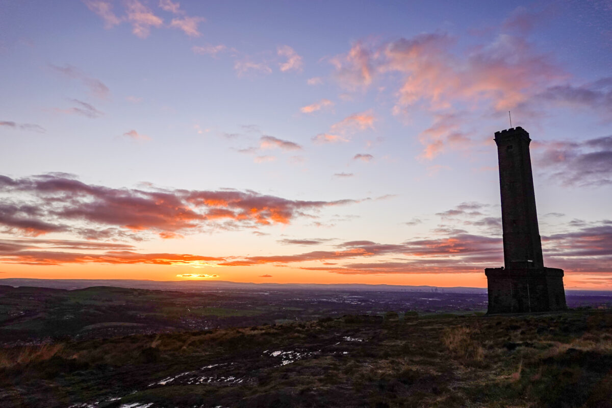 Sunrise at Peel Tower atop Holcombe Hill, England