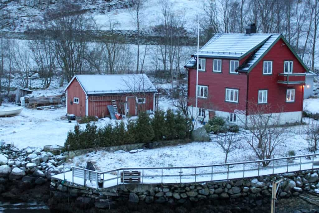 Red houses in snow
